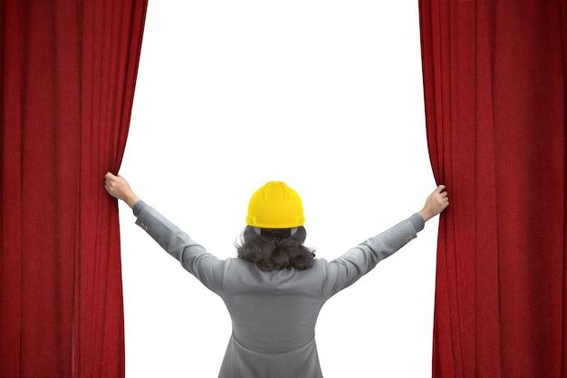 Ouvrier construction, ouvrant, rideau rouge