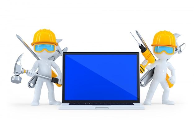 Ouvrier industriel avec ordinateur portable. isolé. contient un tracé de détourage