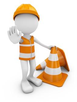 Ouvrier routier avec casque et cônes de signalisation.