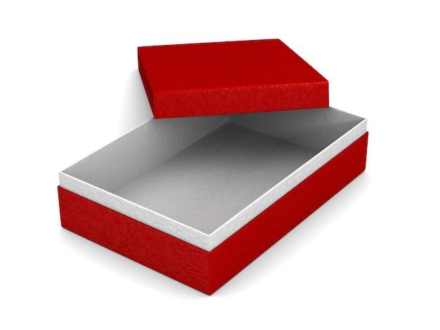 Ouvrir la boîte d'emballage rouge sur l'espace blanc