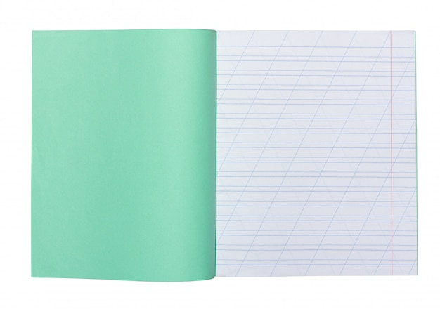 Ouvrir le cahier d'école dans une ligne étroite avec une barre oblique pour apprendre l'orthographe, se moquer avec copie espace isolé