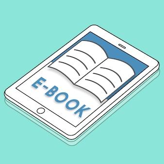 Ouvrir les pages du livre e-book concept graphique d'apprentissage en ligne