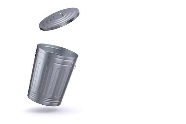 Ouvrir le panier à ordures sur l'espace blanc