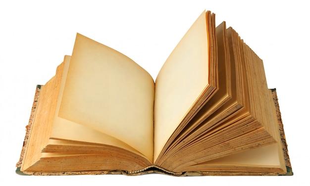 Ouvrir le vieux livre avec des pages blanches isolées