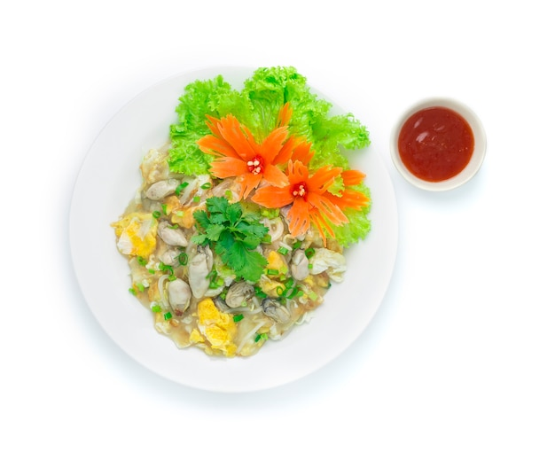 Oyster fried with egg hot dish chinese food style asiatique