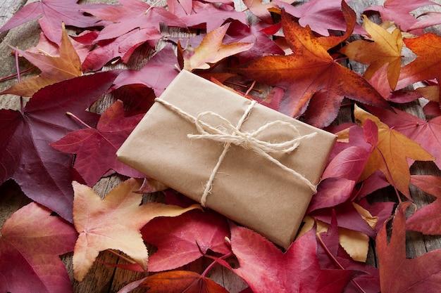Pack cadeau et feuilles d'automne