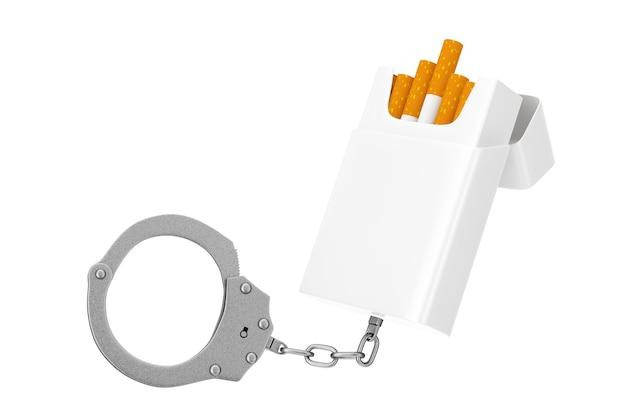 Pack de cigarettes vierges enchaînés à des menottes en métal sur un fond blanc. rendu 3d