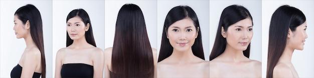 Pack de groupe de collage de femme asiatique après avoir appliqué la coiffure. pas de retouche, visage frais avec une peau agréable et lisse. studio éclairage fond blanc