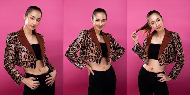Pack de groupe de collage portrait d'une femme d'affaires asiatique portant un costume blanc formel, a un look intelligent et confiant, éclairage de studio fond rose isolé, acte de l'avocat patron posant sourire look intelligent
