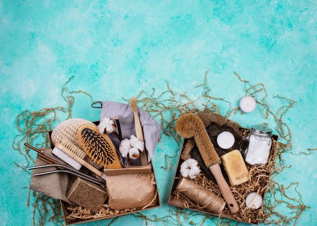 Pack de soins avec accessoires écologiques zéro déchet