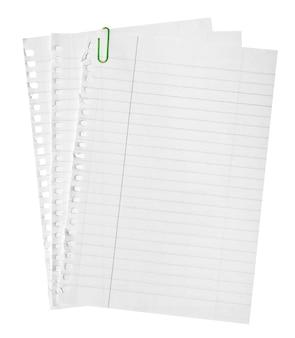Page arrachée du cahier