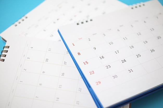 Page de calendrier bouchent le concept de planification d'entreprise