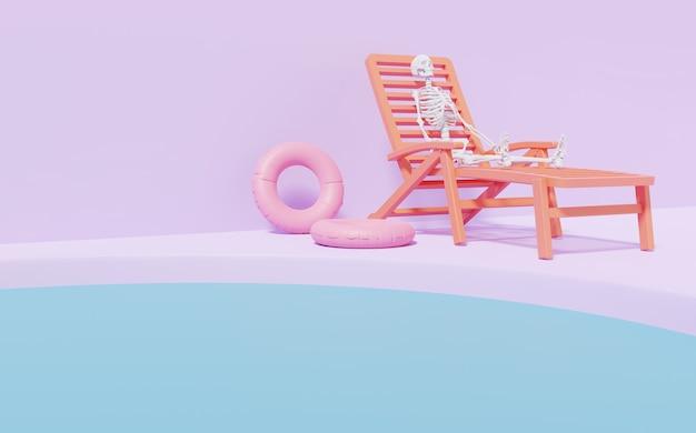 Page de destination maquette squelette se détendre sur une chaise de plage rendu 3d rose pastel et arbre doré