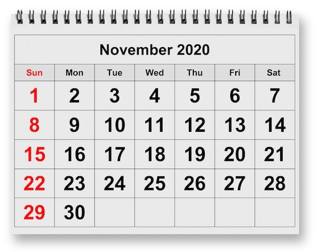 Une page du calendrier mensuel annuel