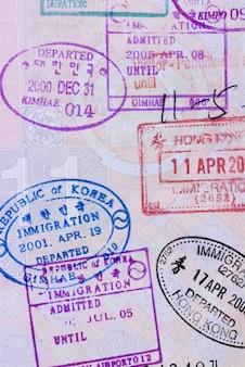 Page du passeport asiatique