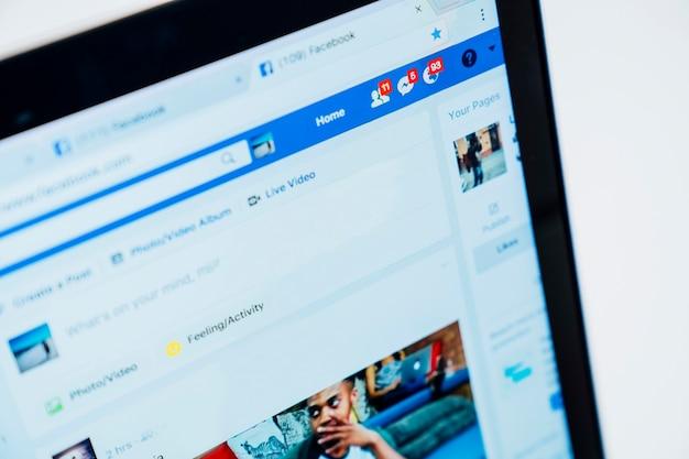 La page de facebook dans l'ordinateur portable