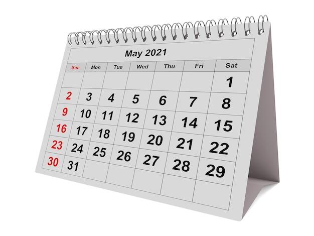 Page de mai du calendrier mensuel annuel