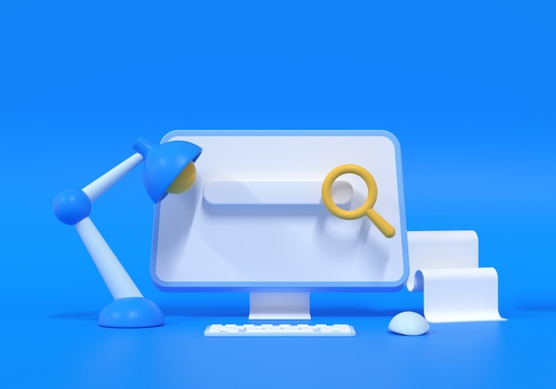 Page web de la barre de recherche sur fond bleu. concept de référencement web. illustration de rendu 3d