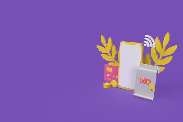 Paiement en ligne par téléphone concept, style argile. illustration de rendu 3d