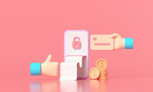Paiement de rendu 3d via le concept de carte de crédit.