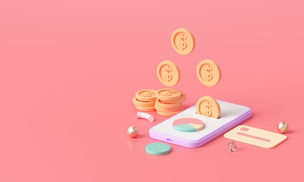 Paiement de transfert d'argent en ligne de rendu 3d