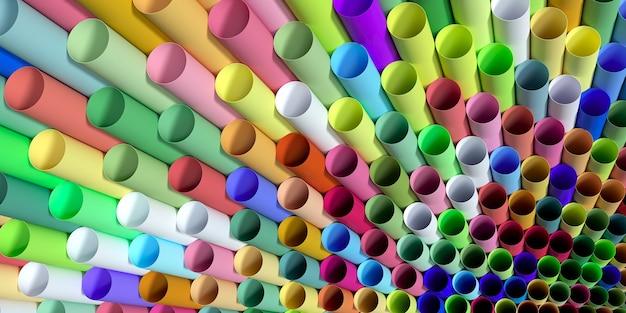 Pailles colorées en plastique jetables illustration 3d
