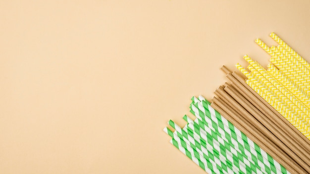Pailles écologiques en papier et bambou