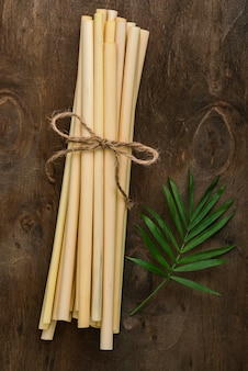 Pailles en tube de bambou écologiques
