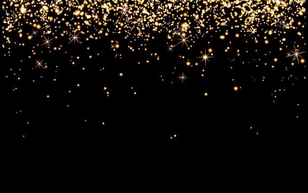 Paillettes abstraites sur fond noir, vacances de noël, confettis, paillettes d'or champagne