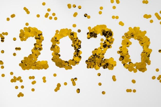 Paillettes d'or chiffres de nouvel an 2020