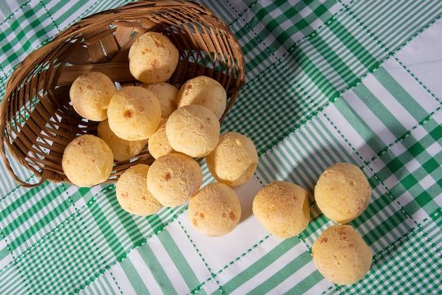 Pain au fromage, panier de paille tombée avec du pain au fromage sur une nappe à carreaux, vue du dessus.