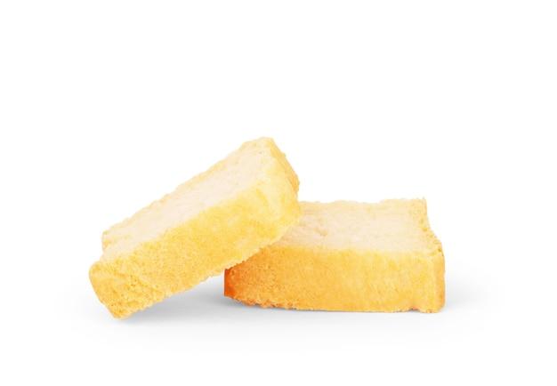Pain grillé (toasts bruschetta italiens) isolé sur fond blanc. tranches de baguette grillée