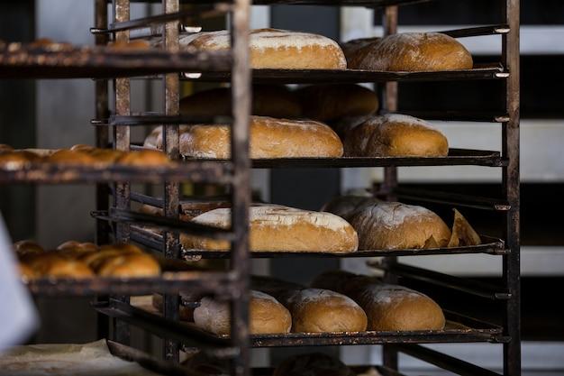 Pains au four et petits pains conservés dans la tablette