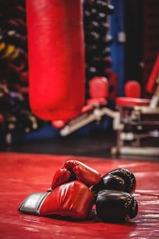 Paire de gants de boxe noirs et rouges