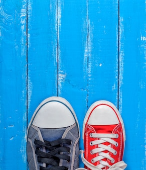 Paire de gumshoes en toile, baskets rouges et bleus