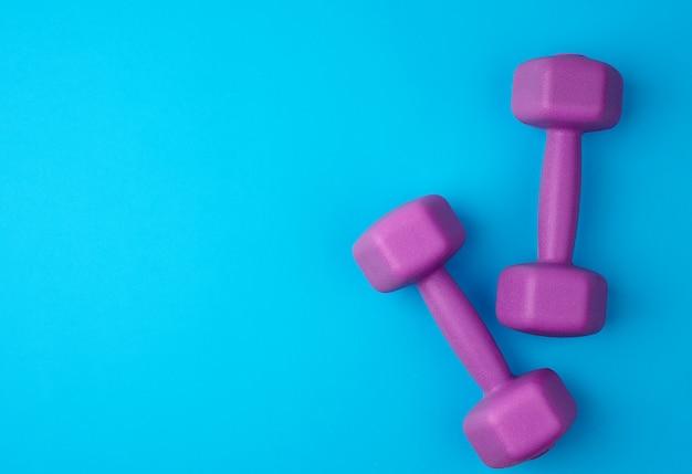 Paire d'haltères en plastique violet,