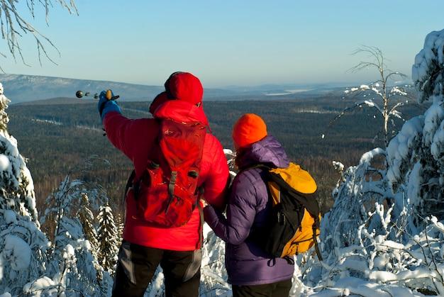 Une paire de randonneurs se tient au sommet de la montagne en hiver, le dos tourné au spectateur