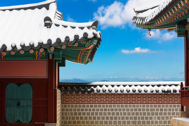 Palais gyeongbokgung en hiver séoul corée du sud