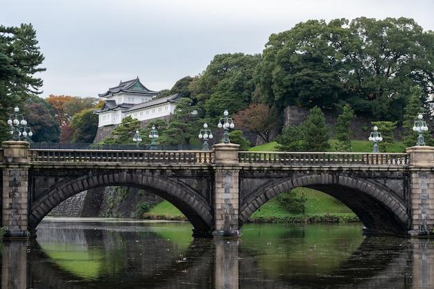Le palais impérial de tokyo, japon. le palais impérial est l'endroit où l'empereur japonais vit de nos jours.