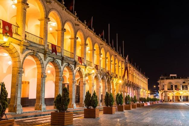 Palais municipal de la plaza de armas à arequipa au pérou