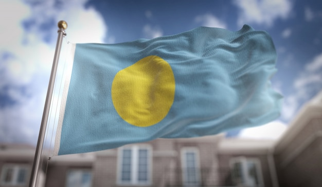 Palau flag rendu 3d sur blue sky building background