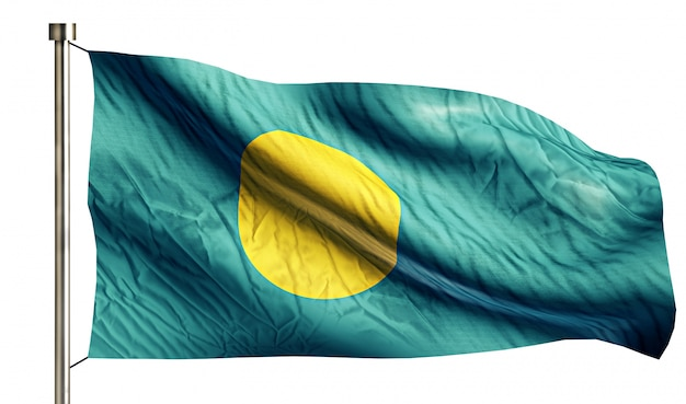 Palau national flag isolated 3d fond blanc
