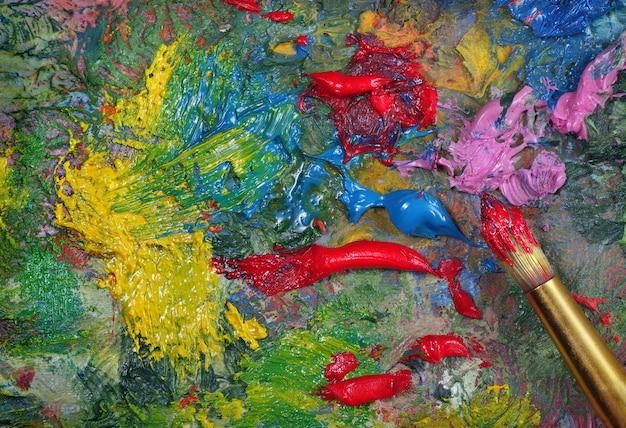 Palette de l'artiste et fond de texture de pinceau. haut vew