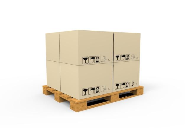 Palette avec des boîtes