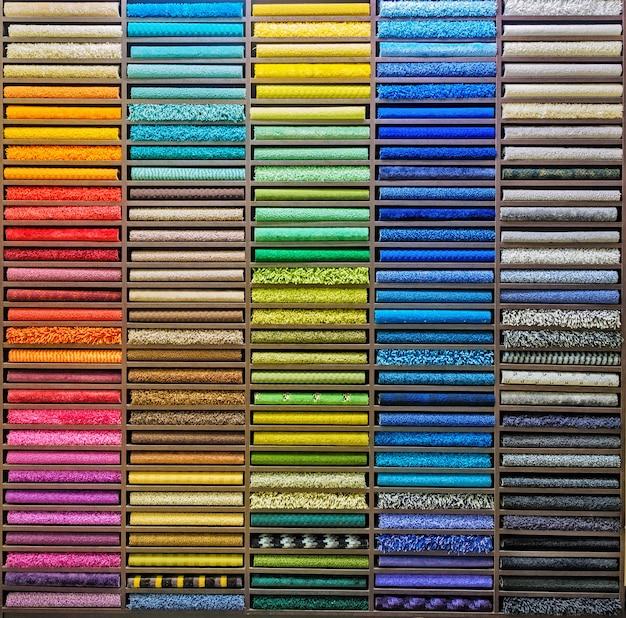 La palette de couleurs du tapis. s