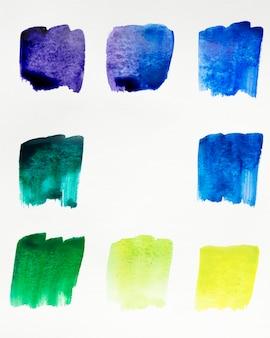 Palette de couleurs des taches d'aquarelle