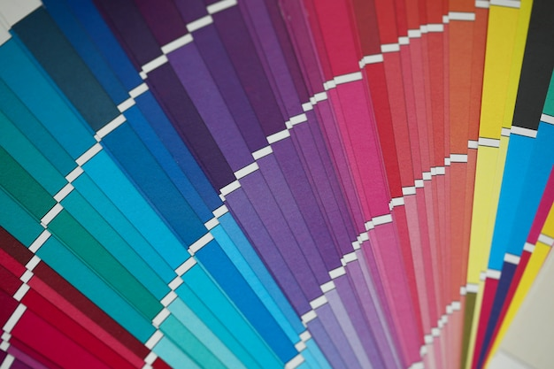 Palette d'échantillons en demi-cercle multicolore ouverte avec une vue d'angle inhabituelle