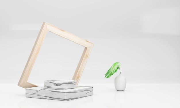 Palette de marbre blanc de luxe 3d et cadre en bois avec un vase avec des feuilles de monstera sur fond blanc