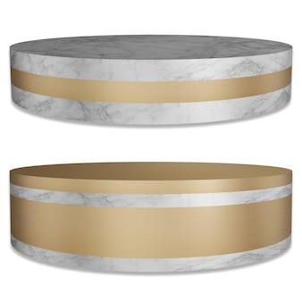 Palette de surface en marbre et or socle de produit ou une couleur dorée luxueuse sur fond blanc avec chemin de coupe de rendu 3d.