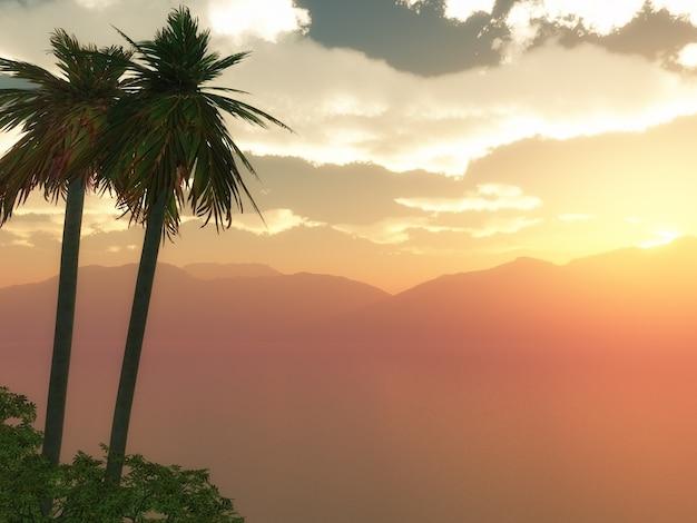 Palmier dans un coucher de soleil